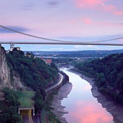 Suspension bridge leading to rocks, Clifton Suspension Bridge, Bristol, England