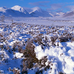 Snow covered landscape with mountain range in the background, Black Mount, Rannoch Moor, Highlands, Scotland