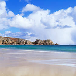 Rock formations at the coast, Porthcurno Bay, Cornwall, England