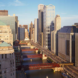 Skyscrapers in a city, Wacker Drive, Chicago River, Chicago, Cook County, Illinois, USA