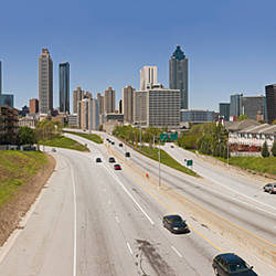 Vehicles moving on the road leading towards the city, Atlanta, Georgia, USA