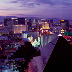 City lit up at dusk, Las Vegas, Clark County, Nevada, USA