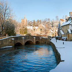 Snow covered castle, Castle Combe, Wiltshire, England