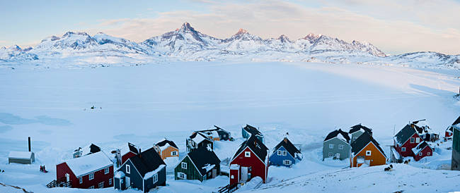 Houses in a snow covered town, Tasiilaq, Greenland