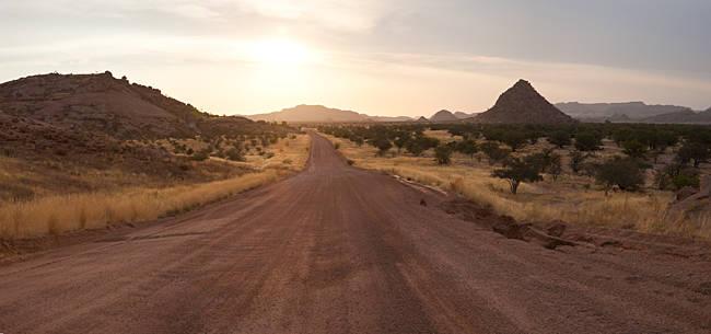 Dirt road passing through a desert, Namibia