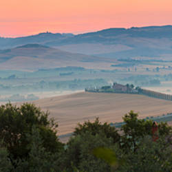 Mountain at dawn, Val d'Orcia, Tuscany, Italy