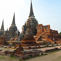 Three stupas of Buddhist temple, Wat Phra Si Sanphet, Ayuthaya, Thailand