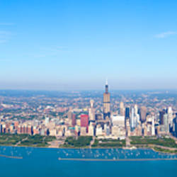 Aerial view of a cityscape, Trump Tower, Willis Tower, McCormick Place, Lake Michigan, Chicago, Cook County, Illinois, USA 2010