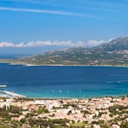 Houses on the coast, Calvi, Gulf of Calvi, Balagne, Corsica, France