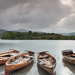 Boats in a lake, Derwent Water, Keswick, English Lake District, Cumbria, England