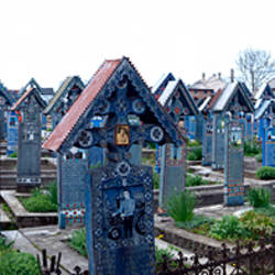 Colorful tombstones in a cemetery, Merry Cemetery, Sapanta, Maramures, Romania