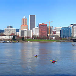 Buildings at the waterfront, Willamette River, Portland, Multnomah County, Oregon, USA