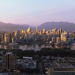 Aerial view of cityscape at sunset, Vancouver, British Columbia, Canada