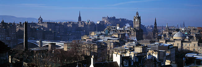 High angle view of buildings in a city, Edinburgh, Scotland