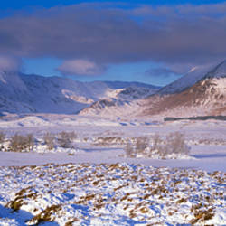 Snow covered landscape with mountains in winter, Black Mount, Rannoch Moor, Highlands Region, Scotland