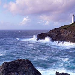 Lighthouse at the coast, Trevose Head Lighthouse, Trevose Head, Cornwall, England