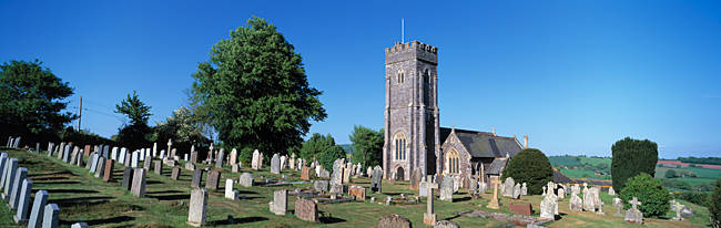 Old church with cemetery, St. Swithin's Church, Shobrooke, Devon, England