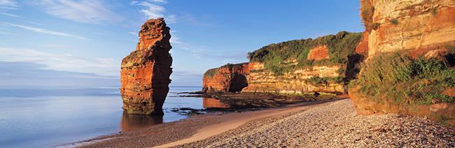 Rock formations at the coast, Ladram Bay, Devon, England