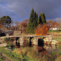 Old bridge in autumn, Clapper Bridge, Postbridge, Dartmoor, Devon, England