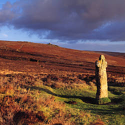 Bennett's cross standing stone in evening sunlight, Dartmoor, Devon, England