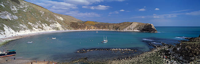 High angle view of a coastline, Lulworth Cove, Jurassic Coast, Dorset, England