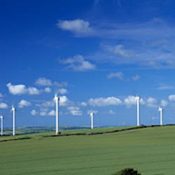 Wind turbines in a farm, Newlyn Downs, Cornwall, England