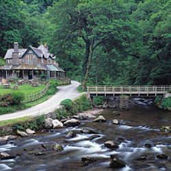 Bridge across a river, Watersmeet, North Devon, Devon, England