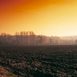 Plowed fields in winter at sunset, Norfolk, England