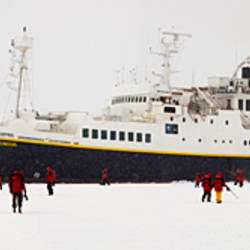 Ship in ice floe, Antarctica