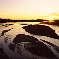 River at sunset, Platte River, Nebraska, USA