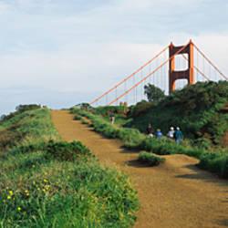 Path leading towards a suspension bridge, Golden Gate Bridge, San Francisco, California, USA