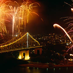 Firework display at New year's eve in a city, Story Bridge, Brisbane River, Brisbane, Queensland, Australia