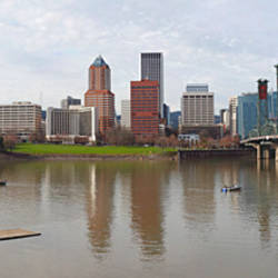 Buildings at the waterfront, Willamette River, Portland, Multnomah County, Oregon, USA 2010