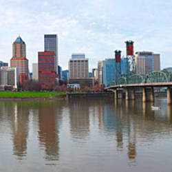 Bridge across a river with city skyline in the background, Willamette River, Portland, Oregon 2010