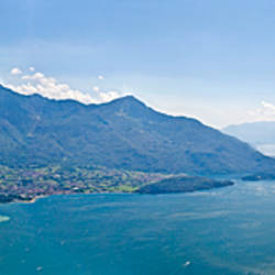 Mountain range at the lakeside, Lake Como, Como, Lombardy, Italy