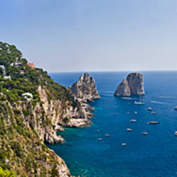 Boats in the sea, Faraglioni, Capri, Naples, Campania, Italy