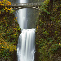 Low angle view of a waterfall, Multnomah Falls, Columbia River Gorge, Multnomah County, Oregon, USA
