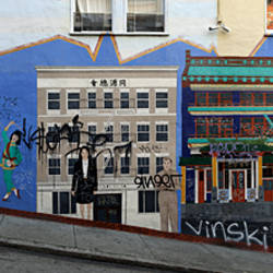 Murals on houses, North Beach, San Francisco, California, USA