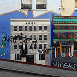 Murals on houses, North Beach, San Francisco, California, USA