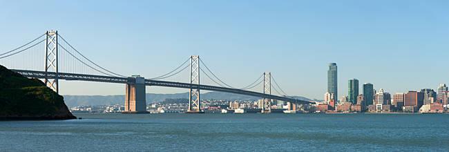 Suspension bridge across a bay, Bay Bridge, San Francisco Bay, San Francisco, California, USA 2010