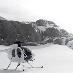 Helicopter on a glacier, Milford Sound, Fjordland National Park, South Island, New Zealand