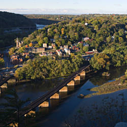 High angle view of a town, Harpers Ferry, Jefferson County, West Virginia, USA