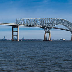 Bridge across a river, Francis Scott Key Bridge, Patapsco River, Baltimore, Maryland, USA
