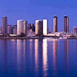 Moonrise over a city, San Diego, California, USA 2010