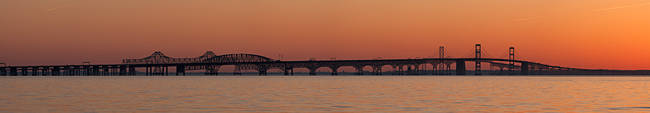 Bridge across a bay at sunset, Chesapeake Bay Bridge, Chesapeake Bay, Maryland, USA