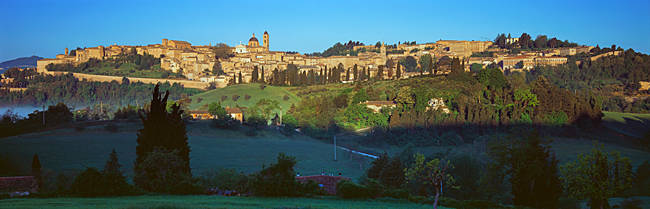 Town at the waterfront, Urbino, Marches, Italy