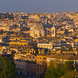 High angle view of a cityscape at dusk, Rome, Lazio, Italy