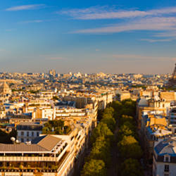 Cityscape with Eiffel Tower in background, Paris, Ile-de-France, France