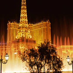 Hotels in a city lit up at night, The Strip, Las Vegas, Nevada, USA