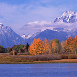 River with mountains in the background, Oxbow Bend, Snake River, Grand Teton National Park, Teton County, Wyoming, USA
